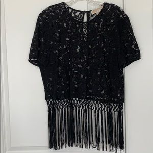 Michael Kors lace and fringe cropped top